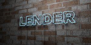 Lender written in neon lights on a brick wall.