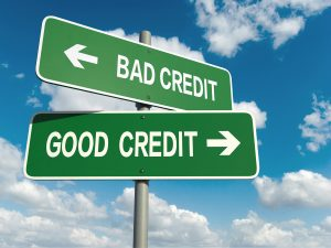 Road sign pointing to two different credit scores.