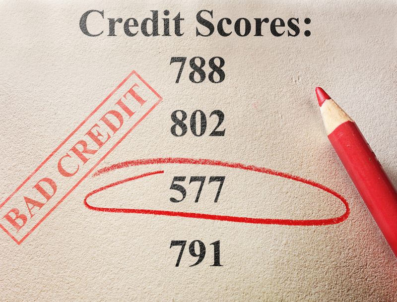 Circled number indicating bad credit score.