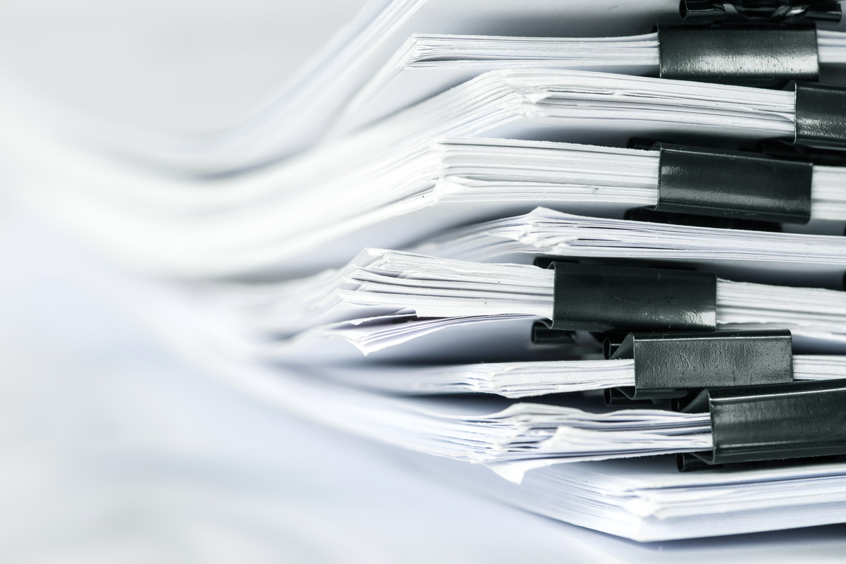 A stack of financial documents