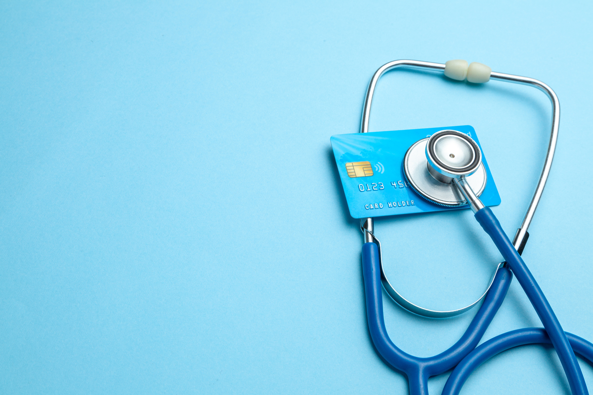 a stethoscope and credit card.